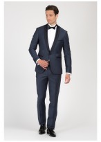 Shawl collar slim-fit tuxedo Emmanuelle Khanh 87 - Petrol blue