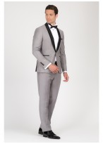 Shawl collar slim-fit tuxedo Emmanuelle Khanh 21 - Pearl Grey