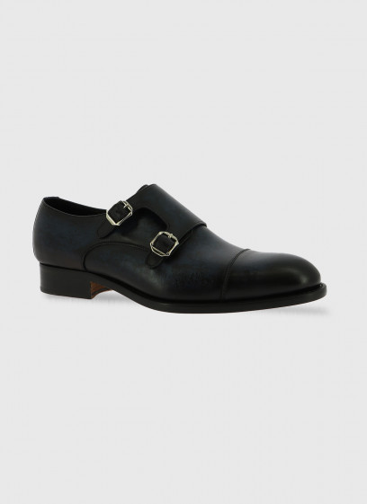 Double buckle leather shoe by Stanbridge