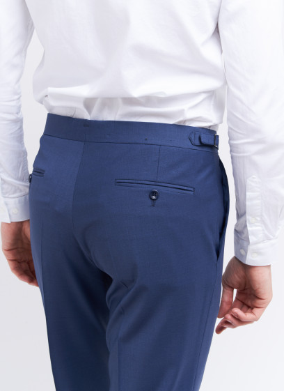Slim fit trousers by Emmanuelle Khanh _ Petrol blue plain _ 87 - Petrol blue