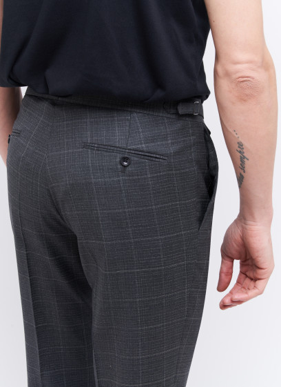 Slim fit trousers by Emmanuelle Khanh _ Dark grey with stripes _ 23 - Dark grey