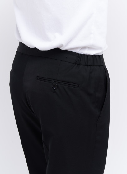 Slim fit trousers by Emmanuelle Khanh _ Black plain _ 01 - Black