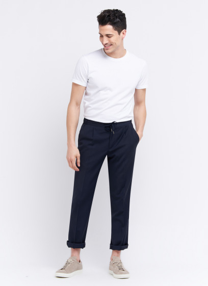 Slim fit trousers by Emmanuelle Khanh _ Marine blue plain _ 88 - Marine blue