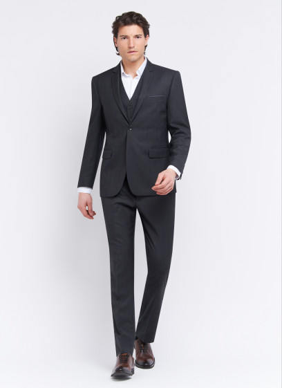 Three-pieces slim fit suit by Sevenson _ Anthracite grey with checks _ 24 - Anthracite grey