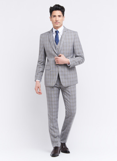 Three-pieces slim fit suit by Sevenson _ Pearl grey with checks _ 21 - Pearl grey