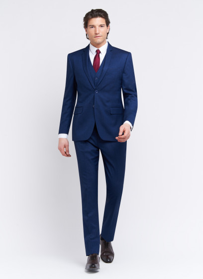 Three-pieces slim fit suit by Sevenson _ Midnight blue faux plain _ 89 - Midnight blue