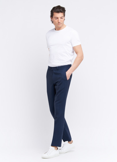 Slim fit trousers by Stanbridge _ Petrol blue faux plain _ 87 - Petrol blue
