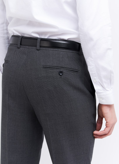 Slim fit trousers by Stanbridge _ Dark grey  faux plain _ 23 - Dark grey