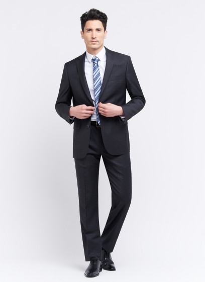Regular fit suit by Cloth Ermenegildo Zegna _ Anthracite grey with checks _ 24 - Anthracite grey