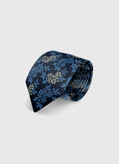 Silk tie with liberty pattern by Emmanuelle Khanh