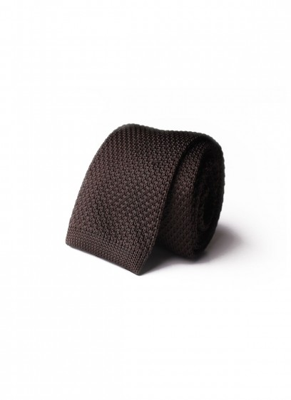 CHOCOLATE KNITTED TIE EMMANUELLE KHANH