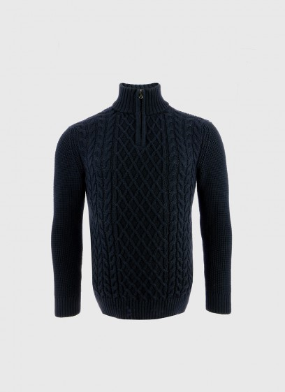 Stanbridge wool blend zipped collar sweater